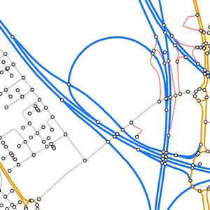 OS MasterMap Integrated Transport Network (ITN) - Road Network and Road Routing Information (RRI) - sample image