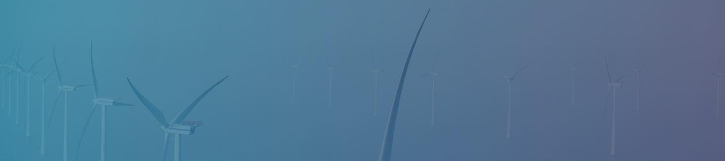 Wind turbines banner with teal to purple gradient tint