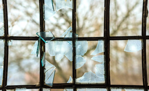 Broken glass in window