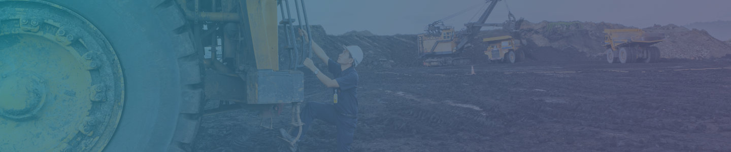 Man climbing onto huge digger in quarry banner with teal to purple tint
