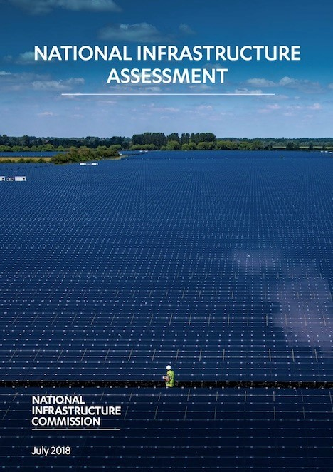 National Infrastructure Commission brochure cover - solar panel farm