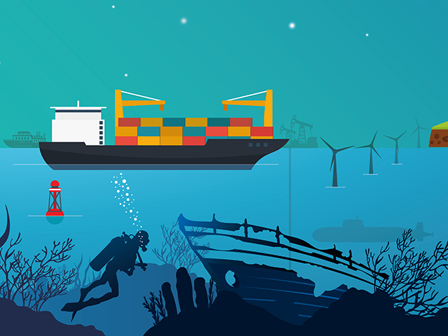 emapsite marine application marketing illustration - Diver, shipwreck, container ship