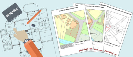 Image of a floor plan and samples of emapsite PDF site plans
