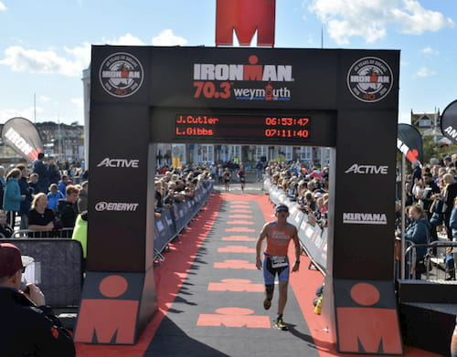 James Cutler - emapsite CEO - completing Iron Man 70.3 in Weymouth