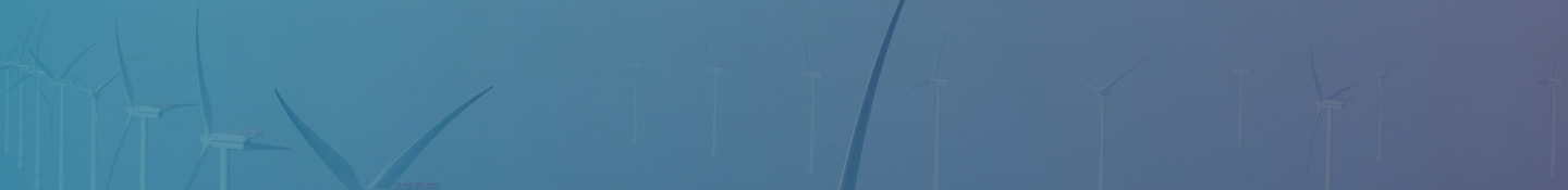 Teal to purple gradient banner off wind turbines