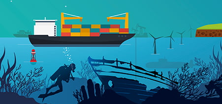emapsite marine artwork - underwater diver, shipwreck, wind turbines, container ship