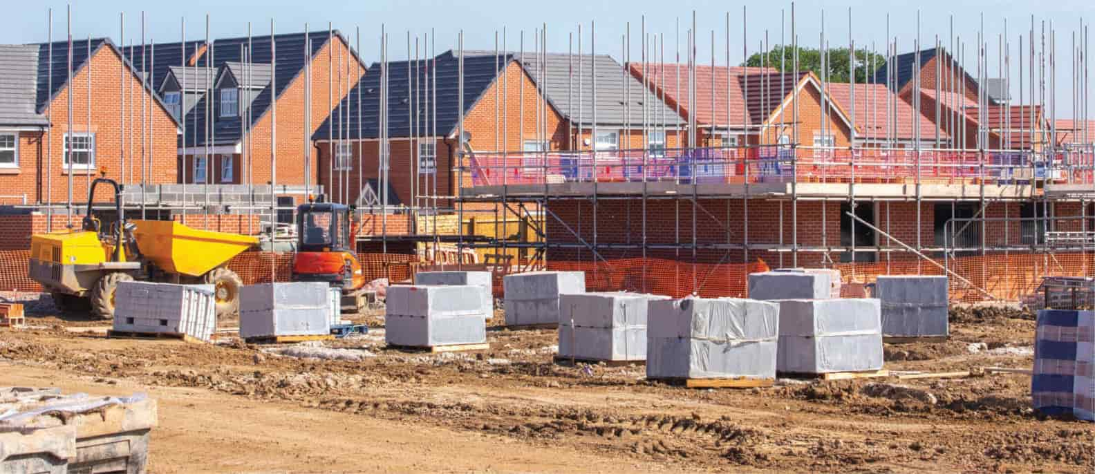 Partially built new housing development